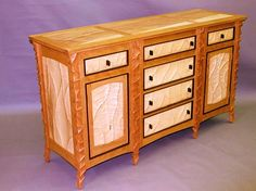 Carved Cherry and Maple Sideboard: John Wesley Williams: Wood Sideboard - Artful Home