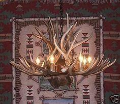 """34"""" Wide Real Mule Deer Antler Chandelier w Down Light --------~650"""