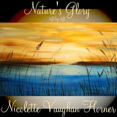 Sunset painting ORIGINAL Abstract canvas-Contemporary Landscape multicolor Oil painting by Nicolette Vaughan Horner 36x24