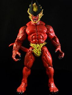 this is a marvel legends SURTUR  10 Inch Custom Action Figure he was made by figure realmer stevid he used a 10 inch Lucifer happy pinning