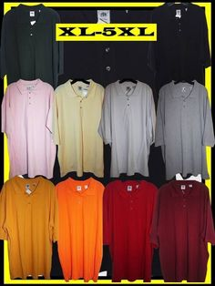 Plain Polo Shirts XL, 2XL, 3XL, 4XL, 5XL, Red, Black, Grey, White, Pink, Green, Orange, Yellow, Cream, Free Shipping