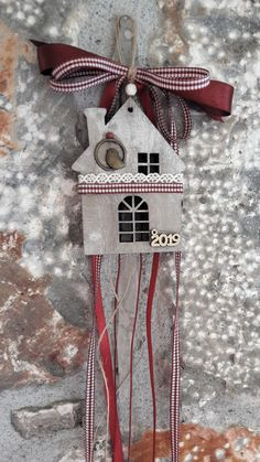Christmas charm, happy new year, wooden house charm Christmas Decoupage, Christmas Home, Diy And Crafts, Christmas Crafts, Christmas Ornaments, Educational Crafts, Handmade Christmas Decorations, Wooden House, Christmas Inspiration