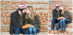 Downtown winter engagement photo session at Gratz Park in Lexington, Kentucky. Kentucky Wedding Photographer, Lexington Wedding Photographer, Southern Bride, Kentucky Bride, Engagement, Fall Leaves, Cold Engagement Session, Stairs, Kiss. Kevin and Anna Photography www.kevinandannaweddings.com