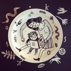 #welovebooks painted on #ceramic by #annewenkel #illustration