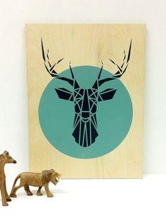 *** Originalgrafiken ***    Großer Hirsch Kopf, Aqua Circle, dunkel grau Hirsch, Original Schablone Kunst auf einem Sperrholz-Block. Handgefertigte
