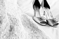 Munster, Indiana Summer Wedding Black and white and lace featuring these gorgeous shoes!