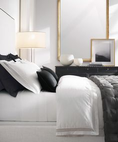 Black, white and gold accents in this tailored bedroom // RH Source Books