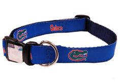 $14.99-$25.99 This Florida Gators 100% Nylon Dog Collar is perfect for the most important fan in the house! Let them show their school pride in the team of your choice. Go Gators!   Small collar adjustable from 12inches to 19inches  Medium collar adjustable from 15inches to 25inches  Large collar adjustable from 18inches to 31inches  XLarge collar adjustable from 21inches to 36inches