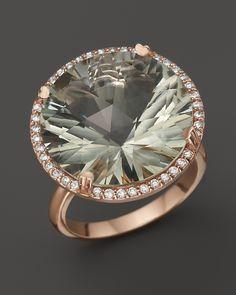 Lisa Nik 18K Rose Gold Prasiolite Diamond Ring