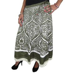 Mogulinterior Womens Hippie Gypsy Skirt Olive Green Ethnic Printed Indian Designer Skirts