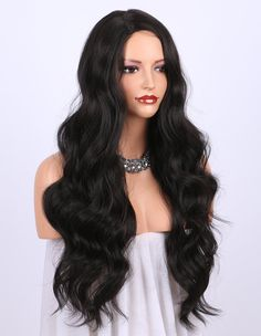 K'ryssma Dark Brown Synthetic Wigs for women - Natural Looking Long Wavy Right Side Parting NONE Lace Heat Resistant Replacement Wig Full Machine Made 24 inches (#2) Hair Extensions For Sale, Human Hair Extensions, Cheap Human Hair, Human Hair Wigs, Curly Wigs, Curly Hair, Synthetic Lace Front Wigs, Synthetic Wigs, Short Bob Hairstyles