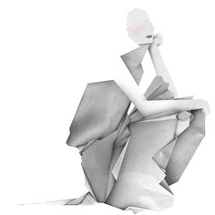 Paper based illustration digitally composited. Using the look and feel of origami to simulate structure, drape and form. http://maricormaricar.com/#