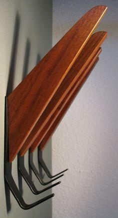 set of 4 teak mid century modern coat hangers String Jacobsen style coat rack