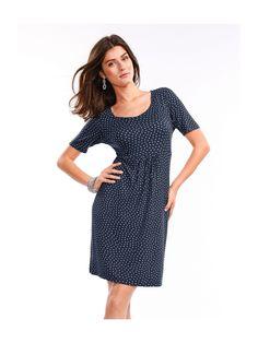 Peter Hahn Jersey-Kleid Rundhals-Ausschnitt und 1/2-Arm  mehrfarbig