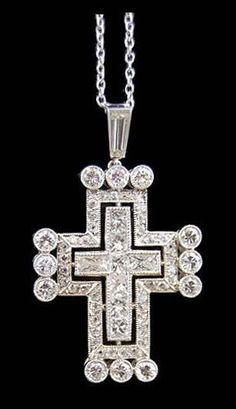 Platinum Diamond Cross Pendant with Chain - Yafa Jewelry