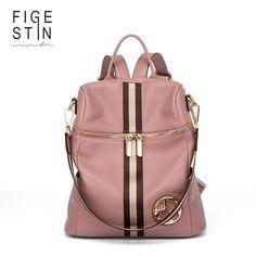 8dbb0f9429e7 FIGESTIN Backpack Female Genuine Leather Women Backpacks School Bag Pink  Stripe Multifunctional Leather Back pack on Shoulder