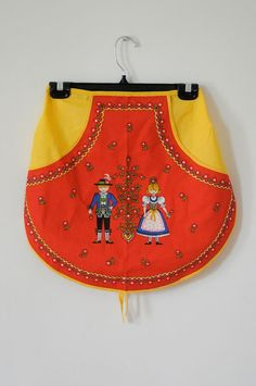 1970's VINTAGE LOVE Red and Yellow German Half Apron