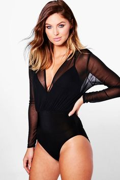 Boohoo Womens Mia Mesh 2 In 1 Strappy Bodysuit Comfortable Mens Underwear, Pullover Shirt, Dark Hair With Highlights, Grey Wig, Body Suit Outfits, Wigs For Black Women, Human Hair Wigs, Women Lingerie, Lace Lingerie