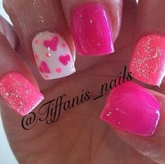 "Image via Hearts nail art design Image via ""I Love You"" Valentine's Day Nails by perfectly_nailed! Valentine's Day Nail Art Ideas Image via Cute Pink Love Simple Heart Nail Design Get Nails, Fancy Nails, Pretty Nails, Valentine Nail Art, Bright Nails, Nagel Gel, Fabulous Nails, Creative Nails, Holiday Nails"