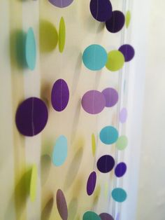Circle Garland Paper Blue Purple Green Party Shower. $20.00, via Etsy.