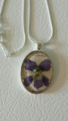 Real violet necklace. Jewelry handmade