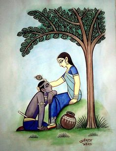 """I was really saying for the sake of our youth and our love I forgave him for everything and I was asking him to forgive me too."" -Miriam Waddington, Ten Years and Krishna Drawing, Krishna Painting, Kerala Mural Painting, Indian Art Paintings, Madhubani Art, Madhubani Painting, Arte Krishna, Lord Krishna, Krishna Radha"