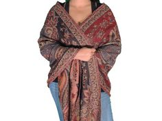 "Woven Paisley Shawl - Maroon Stylish Beaded Ladies Dress Scarf Wrap 80"""
