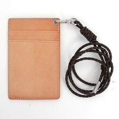 card holder/id badge holder/badge holder/business card holder/id holder/leather card holder/Natural Vegetable-tanned Leather ID Card Holder