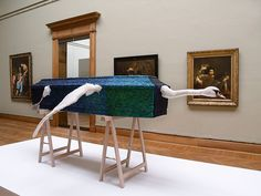 so glad i finally discovered the name of this artist. He did an installation in a Belgium palace, covering the ceiling with these wing cases | Angelos by Jan Fabre