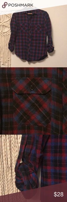 BDG Cute Flannel! BDG Flannel button down Woven in perfect condition! I might have a Flannel addiction because I have a lot but only wear a few! Love the color combo with Navy, Black and Deep Red! Urban Outfitters Tops Button Down Shirts