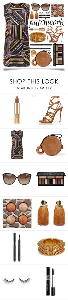 """""""All Patched Up!"""" by ittie-kittie ❤ liked on Polyvore featuring Dolce&Gabbana, Dsquared2, Missoni, Carven, Linda Farrow, Kat Von D, BHCosmetics, Lizzie Fortunato, Burberry and Eddie Borgo"""