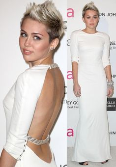 Miley Cyrus went with an elegant white Azzaro gown