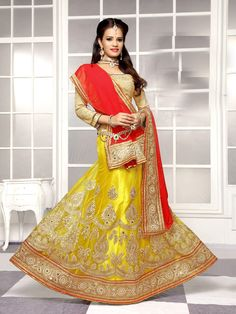 Semi #Stitched #Yellow #Viscose #Circular #Lehenga #Choli #nikvik  #usa #designer #australia #canada #freeshipping #chaniya