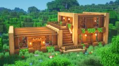 Minecraft: How to Build a Wooden House Casa Medieval Minecraft, Minecraft House Plans, Minecraft Cottage, Modern Minecraft Houses, Minecraft Mansion, Minecraft Structures, Minecraft Houses Survival, Minecraft House Tutorials, Minecraft Houses Blueprints