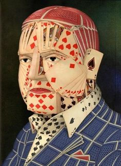 """Poker Face by John Craig.  Digital collage portrait made from playing cards. Originally created for Esquire Magazine. Signed and numbered, limited edition of 400. Giclee print on canvas, 14"""" H x 10"""" W (unframed)"""