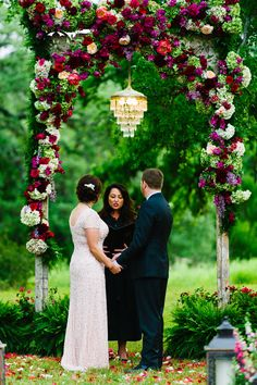 Pecan Springs Ranch Wedding with Vintage Touches Vintage wedding ceremony decor featuring a flower arch and vintage chandelier. Wedding Tags, Purple Wedding, Floral Wedding, Wedding Ideas, Wedding Themes, Wedding Ceremony Flowers, Wedding Ceremony Decorations, Wedding Arches, Wedding Reception