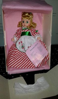 absolutely Mint Condition green eyes blonde hair candy stripe dress I love the apron with her blue or red shorts shoes. Mint in box even her box is pretty darn good from being in the Attic she's been in our display case but she is beautiful | eBay!
