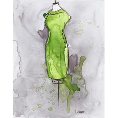 Print - Watercolor and Ink Painting - Vintage Green Celery Dress -... ($25) ❤ liked on Polyvore