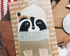 Raccoon card, Autumn Raccoon, raccoon postcard, cute card, card for friend, winter card, funny card