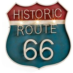 Torre & Tagus Vintage Route 66 Illuminated Wall Sign ($70) ❤ liked on Polyvore featuring home, home decor, wall art, torre & tagus, lighted sign and lighted wall art
