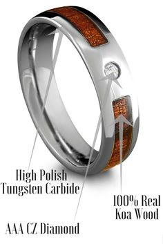 Tungsten Wood Wedding Band With Cz Diamond This Ring Makes The Perfect Mens Or Women S It Is Extremely Durable And 100