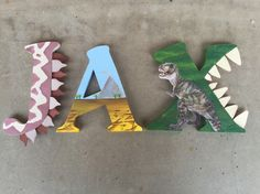 A personal favorite from my Etsy shop https://www.etsy.com/listing/263383700/dinosaur-wooden-letters-dinosaur-wood