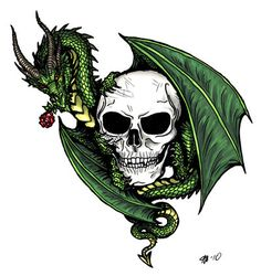Be my valentine? skull dragon rose tattoo flash by *alecan