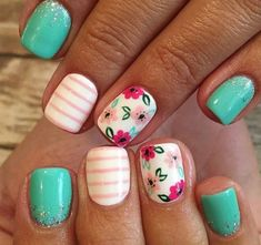101 cute nail art designs for short nails 2019 page 17 Cute Summer Nail Designs, Cute Summer Nails, Cute Nail Art Designs, Flower Nail Designs, Simple Nail Designs, Spring Nails, Cute Nails, Winter Nails, French Nails