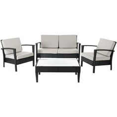 Brayden Studio Steinman 4 Piece Deep Seating Group with Cushions