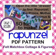 Fairy Tale MATCHBOX Cottage 7 RAPUNZEL Felt by LindyJDesign