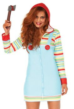 be61ad6a5 LEG AVENUE WOMENS ADULT CHUCKY HOOD COSTUME I Color  Rainbow Trendy  Halloween