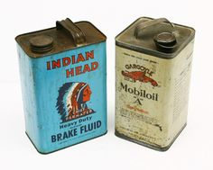 Vintage Tin Containers | 475: Pair of Vintage tin 1 gallon advertising cans for