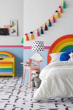Girls Bedroom Furniture, Budget Bedroom, Diy Home Decor Bedroom Girl, Lego Bedroom, Minecraft Bedroom, Rainbow Bedroom, Rainbow Room Kids, Rainbow Girls Rooms, Rainbow Bedding