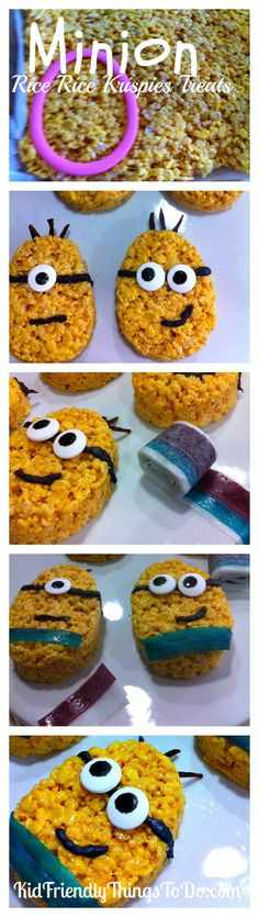 Minion Rice Krispies Treats Fun Food Idea - What a fun idea for a birthday party! The Minions even have fruit roll up pants! Fun!